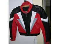 WOMENS / MENS - AS NEW LEATHER MOTORCYCLE JACKET – HARRO Small Size 40 - Black/Red etc with armour