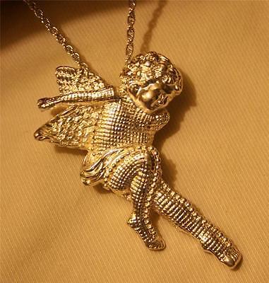 Delightful Grid Finish Silvertone Lounging Angel Cherub Pendant Necklace Brooch
