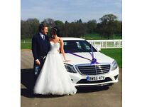 Chauffeur Driven Wedding Car Hire, Merc S Class Long Wheel Base In Gleaming White. Proms, Events