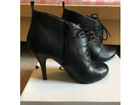 ALDO Jaber Black Leather Booties, Ankle Boots, Heeled Boots, Heels, Size 6, Leather
