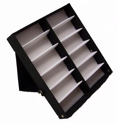 Vertical Portable Sunglass Covered 12 Pair Display Tray Standup Sunglasses Rack