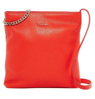 New w/t Tags - $318 Furla Julia Chain Arancio Red Leather Crossbody -