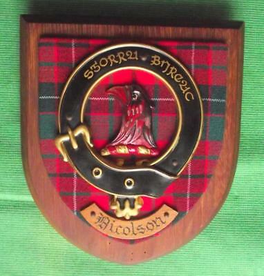 Vintage Old Scottish Carved Oak Clan Nicolson Plaque Crest Shield