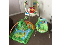 Fisher Price Rainforest set including Jumperoo, playmat & chair. All in good condition.
