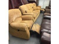 ** MUSTARD 3 SEATER SOFA WITH 2 RECLINER ARMCHAIRS - CAN DELIVER **