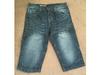 Men's denim knee length shorts - size medium
