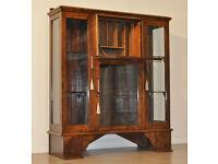 Attractive Vintage Art Deco Burr Walnut Display Cabinet, Drop Flap Fitted Bureau