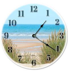 12 BEACH DUNES ON SHORE CLOCK - Large 12 inch Wall Clock - Printed Photo - 2130