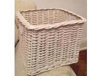 Large white wicker storage basket box