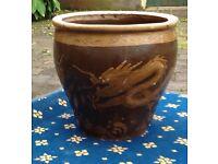Oriental style ceramic plant pot