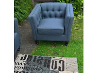A New Hampton Charcoal Natural Fabric Material Button Back Arm Chair