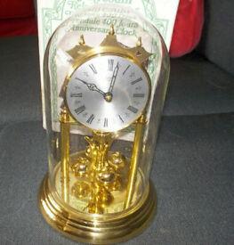 Jahresuhr Anniversary Clock Gold Plated Quartz and Rotating Base (Vintage)