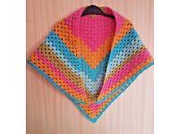 Hand made crochet festival style shawl/shawlett (New)