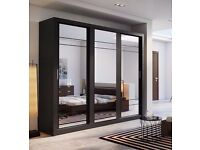 **FREE DELIVERY** BRAND NEW MALIBU 2 or 3 DOOR SLIDING WARDROBE WITH MIRROR SHELVES DRAWERS AND RAIL