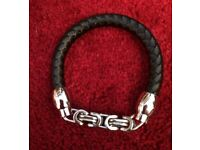 NEW faux leather and chain mens bracelet