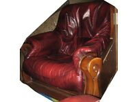 NV HIMA Belgium leather and wood majestic arm chair
