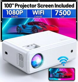 NEW ClokoWe WiFi Projector Native 1080P Full HD 7500 LUX, Home & Outdoor Mini Portable