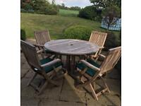 120cm Teak Dining Table with 4 Folding Armchairs