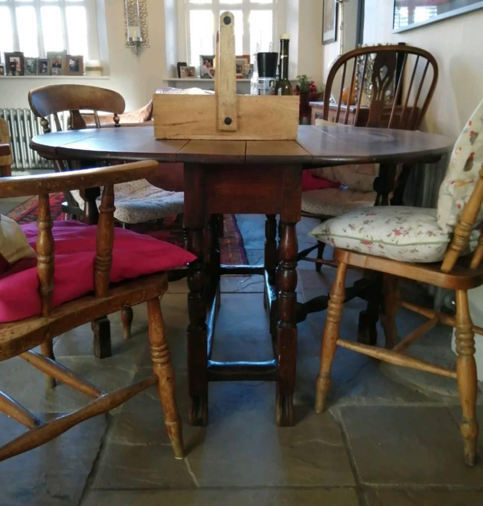 18th Century Antique Vintage Old Oak Drop Leaf Dining Table Seats 4 6 Doncaster