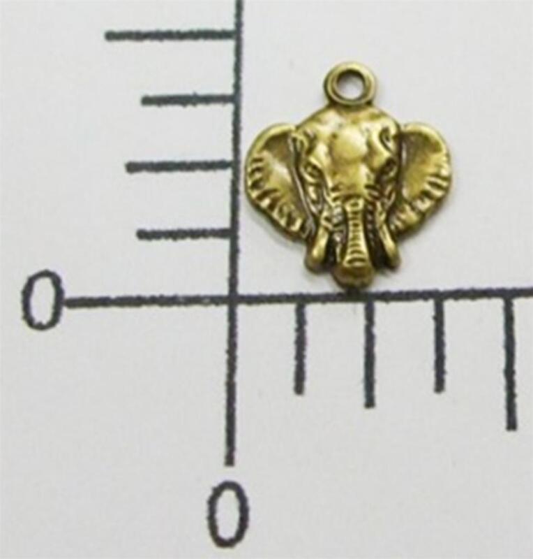 44723 - 4 Pc Small Elephant Head Charm Jewelry Finding Brass Oxidized