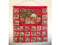 Fabric Advent Calendars with 24 pockets, ideal for small gifts or treats. Beaded and embroidered
