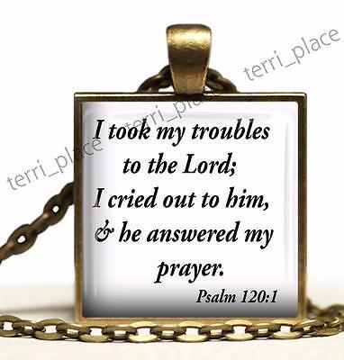 Psalm 120:1 Biblical Verse Scripture Bible Glass Top Bronze Pendant Necklace](Biblical Verse)