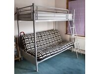 Bunk beds with double futon lower level. Mattresses. Metal. IKEA