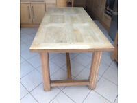 Solid light oak handmade kitchen/ dining/ family room table