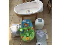 Moses basket, bouncy chair, nappy bin, sheets & blankets, wrap