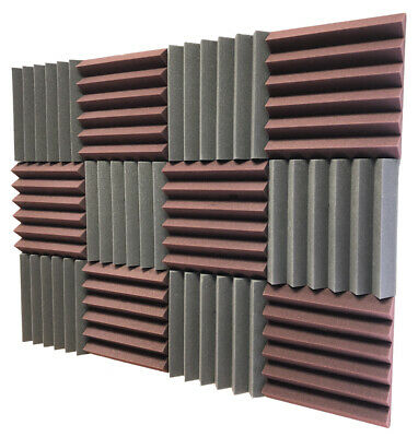 2x12x12 (12 Pk) Burgundy/Black Acoustic Wedge Soundproofing Studio Foam Tiles