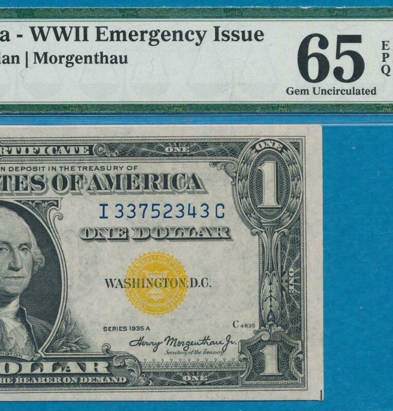 $1.00 1935-A NORTH AFRICA  YELLOW SEAL SILVER CERTIFICATE  PMG GEM NEW 65EPQ