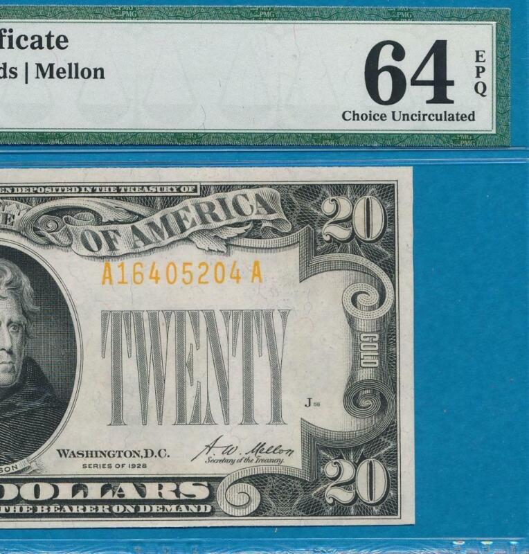 $20. 1928 GOLD SEAL GOLD CERTIFICATE BEAUTIFUL PMG  CHOICE NEW 64EPQ