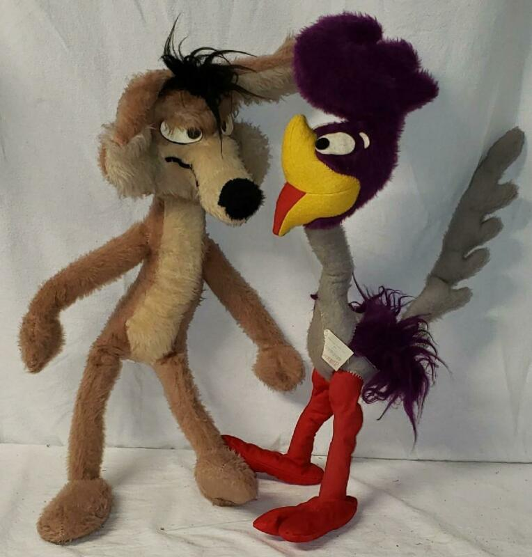 "Vtg 24"" Mighty Star Wile E. Coyote & Road Runner Warner Brothers 1971 Plush Toys"