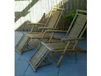 Two Folding Bamboo Reclining Garden Chairs