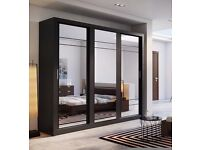 Brand New German 3 Door Sliding Mirror Wardrobe 255cm with Shelves, Hanging Rails, Drawers Cupboard