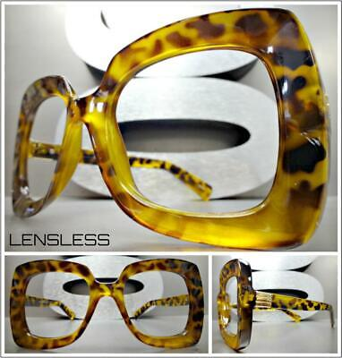 Oversize Exaggerated RETRO Large Leopard Lensless Eye Glasses Frame Only NO (Leopard Frame Glasses)