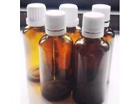 Job Lot of 5 New Amber Glass 50ml Bottles with Droppers+GET 1 FREE 100ML BOTTLE!