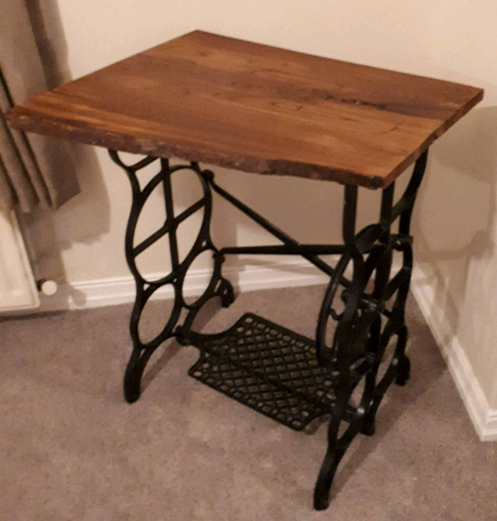 Treadle sewing machine table with waney edged top penrith
