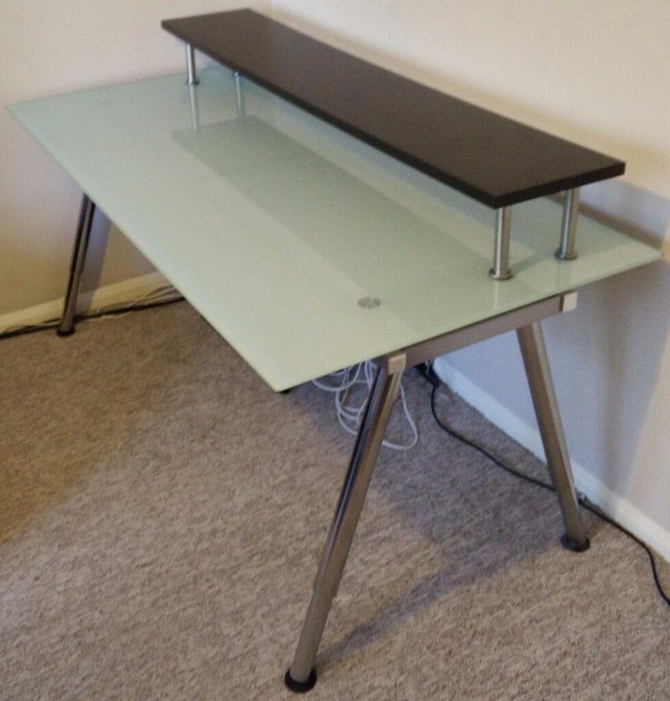 Ikea Galant Desk Glass 160cm X 80cm With Shelf