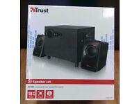 TRUST 2.1 SPEAKER SET WITH SUBWOOFER BRAND NEW SEALED WITH RECEIPT