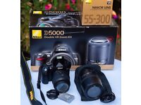 Nikon D5000 with 18-55 and 55-300 lenses, plus extras, superb condition.