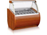 IGLOO ARUBA - ICE CREAM DISPLAY SERVE OVER COUNTER NAPOLI PAN SCOOP, WOOD FINISH