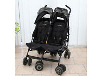 Maclaren twin techno double pushchair stroller Black with footmuff and raincover for sale