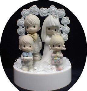 Wedding Cake Topper Precious Moments Family Bride Groom Son