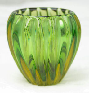 Vintage Heavy Thick Juniper Green Vertical Smooth Ribbed Art Glass Bowl Vase