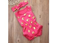 BodySuit - NEW Baby Girls Romper. Polka Dot Summer Sunsuit Set. 12 - 18 Months.