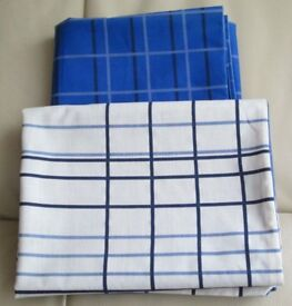 D/size DUVET COVER AND PAIR MATCHING PILLOWCASES, REVERSIBLE, BLUE AND WHITE STRIPED DESIGN VGC