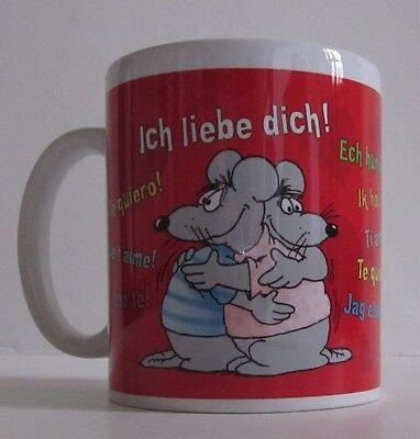 Uli Stein Tasse - Ich liebe dich - I love you - in rot - Porzellan Henkelbecher