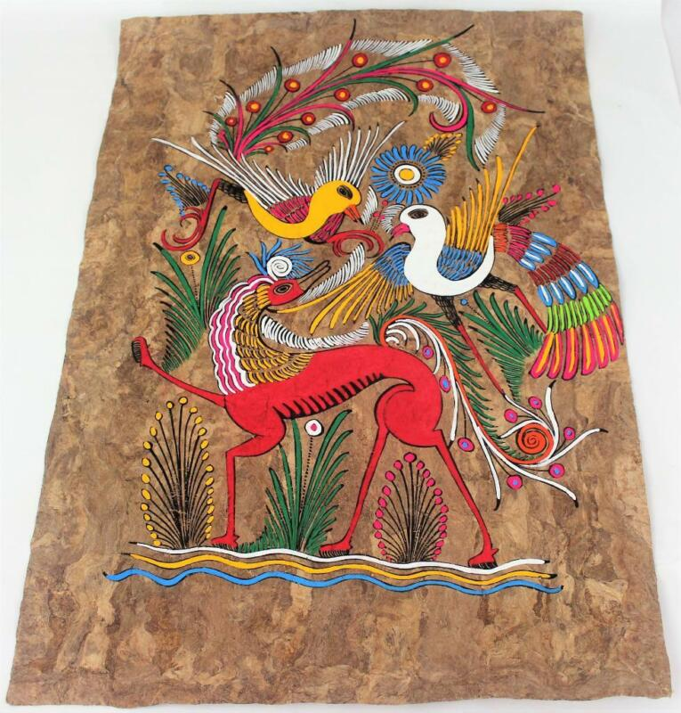 Vtg Mexican Folk Art Amate Bark Painting Bright Colors Birds & Stylized Horse