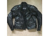 Leather motorcycle jacket and trousers